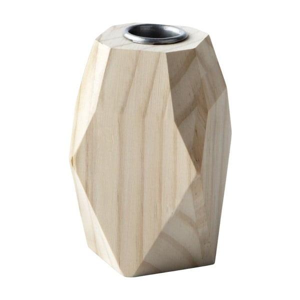Świecznik Geometric Wood, 10x6 cm
