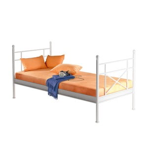 Białe łóżko metalowe jednoosobowe Støraa Tanja, 90x200cm