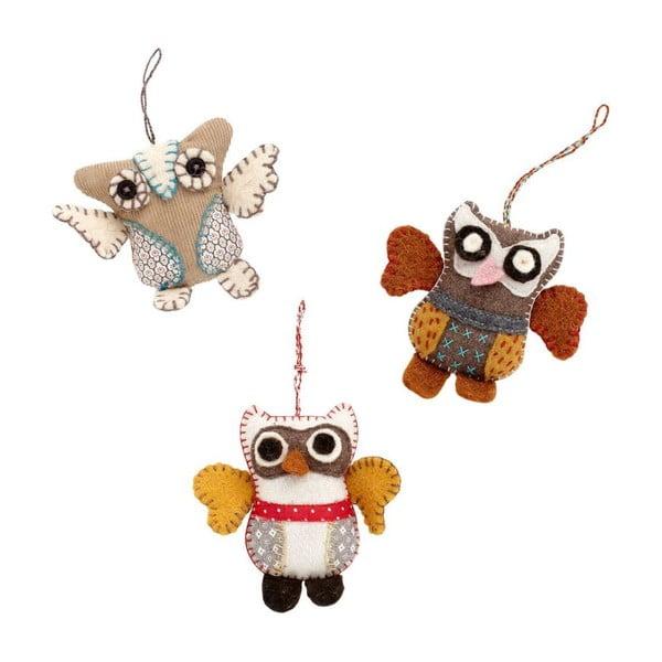 Zestaw ozdób Mini Owls, 3 szt.