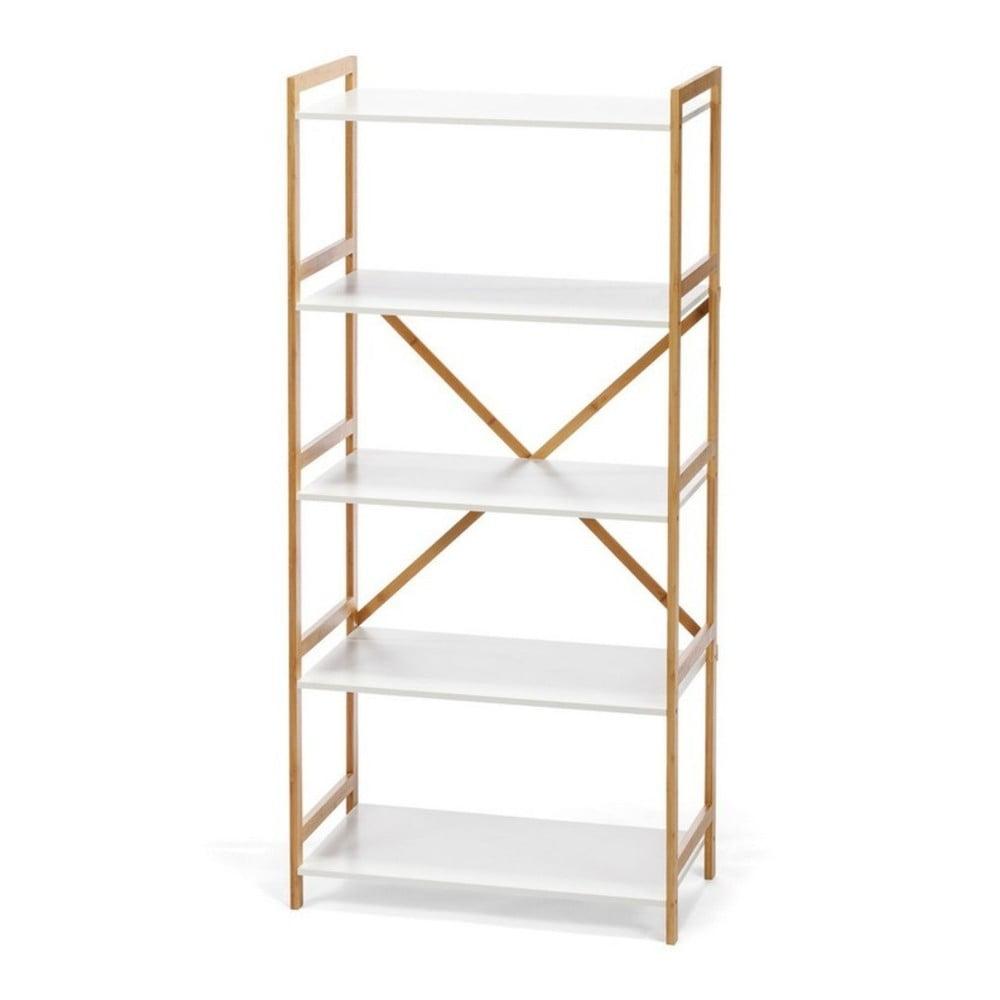 Biały 5-poziomowy regał z bambusową konstrukcją loomi.design Lora