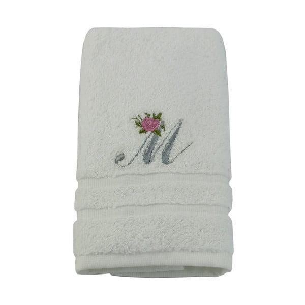 Ręcznik z inicjałem i różyczką M, 50x90 cm