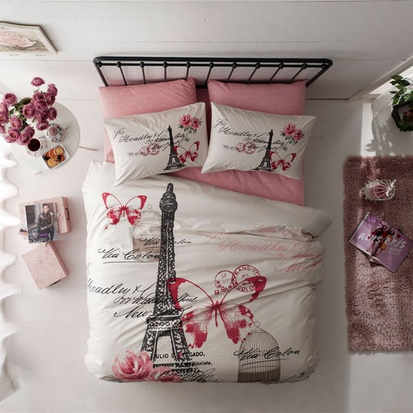 Pościel z prześcieradłem Eiffel Tower, 200x220 cm