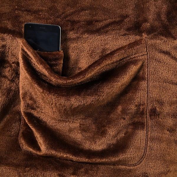 Brązowy koc z rękawami DecoKing Lazy, 200x170 cm