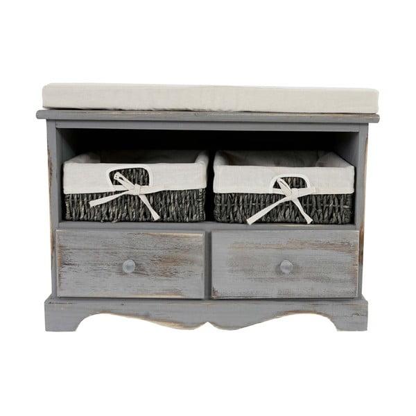 Szara ławka z koszykami i szufladami Mendler Shabby