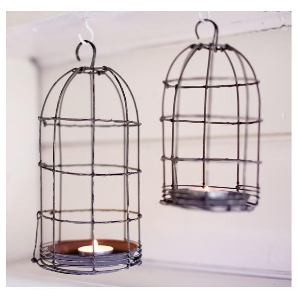 Lampion Bird Cage Light 26 cm, szary