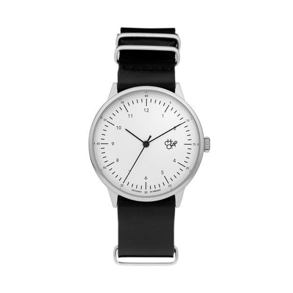 Zegarek z czarnym paskiem i białym cyferblatem CHPO Harold