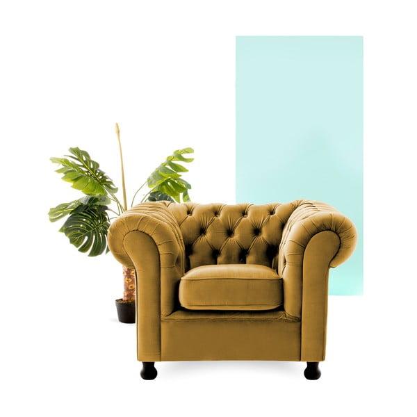 Musztardowy fotel Vivonita Chesterfield