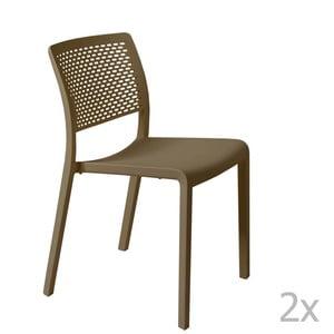 Zestaw 2 brązowych krzeseł ogrodowych Resol Trama