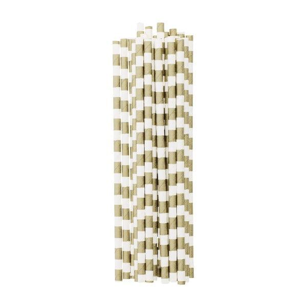 Papierowe słomki, 25 szt. Gold Stripes