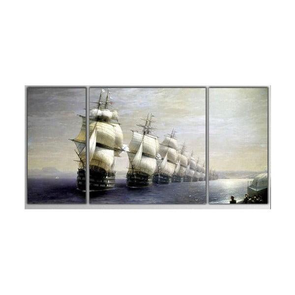 Trzyczęściowy obraz Asymetric Boats, 80x40 cm