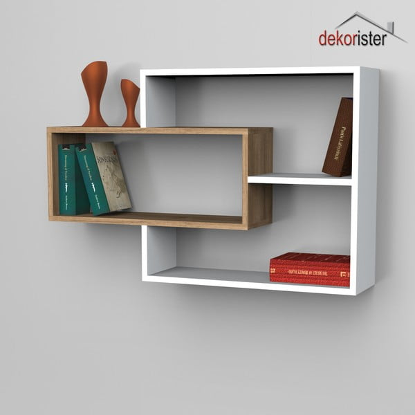 Półka Sementha Book White/Walnut, 22x104,1x66,2 cm