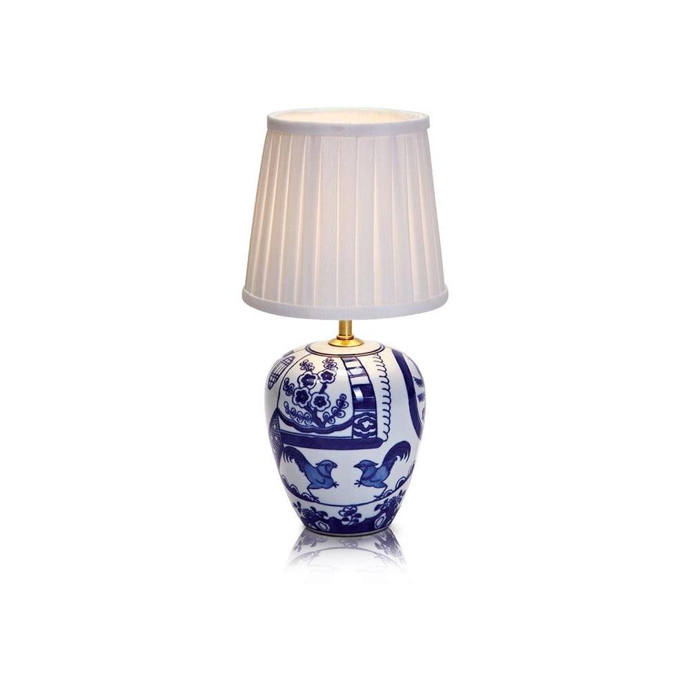 Niebiesko-biała lampa stołowa Markslöjd Goteborg, wys. 33 cm