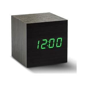 Budzik Cube Click Clock z zielonym LED, czarny