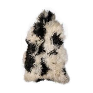 Czarno-biała skóra owcza z długim włosiem Ronna, 120x60cm