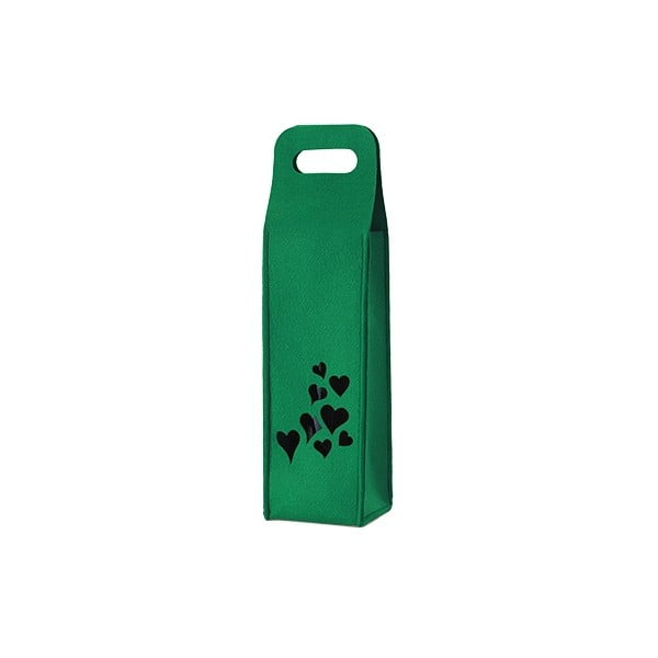 Filcowa torebka na wino, serduszka, zielona