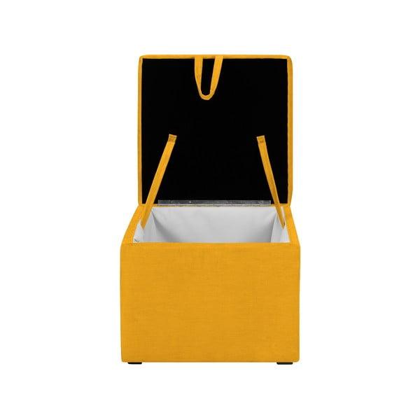 Żółty puf z miejscem do przechowywania KICOTI Cube