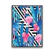 Plakat z flamingami i niebieskimi liśćmi, 30 x 40 cm