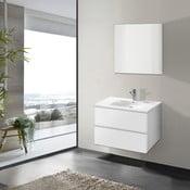 Szafka do łazienki z umywalką i lustrem Flopy, odcień bieli, 70 cm