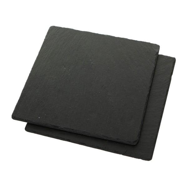 Zestaw 2 podkładek Square, łupek kamienny, 25x25 cm