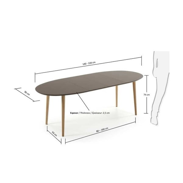Stół rozkładany do jadalni La Forma Oakland, dł.140-220cm