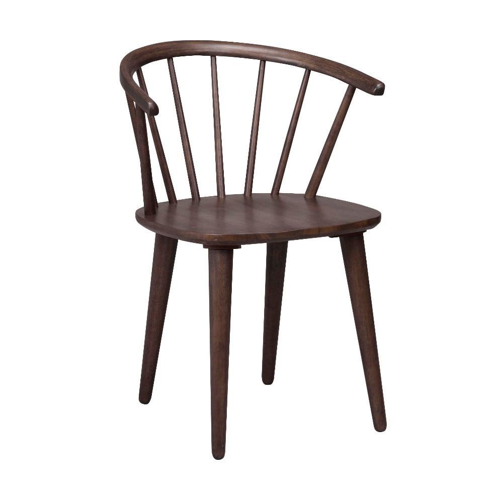 Ciemnobrązowe krzesło do jadalni z drewna kauczukowca Rowico Carmen