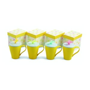 Zestaw kubków z przykrywką Butterfly Giallo, 4 sztuki