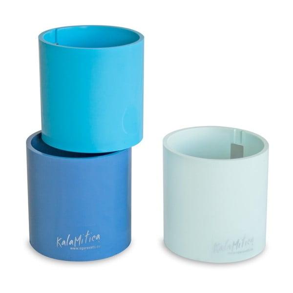 Zestaw 3 magnetycznych doniczek Cylinder Blue, średni