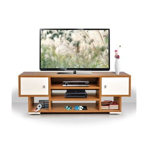 Stolik telewizyjny Uno, kremowy/bambus