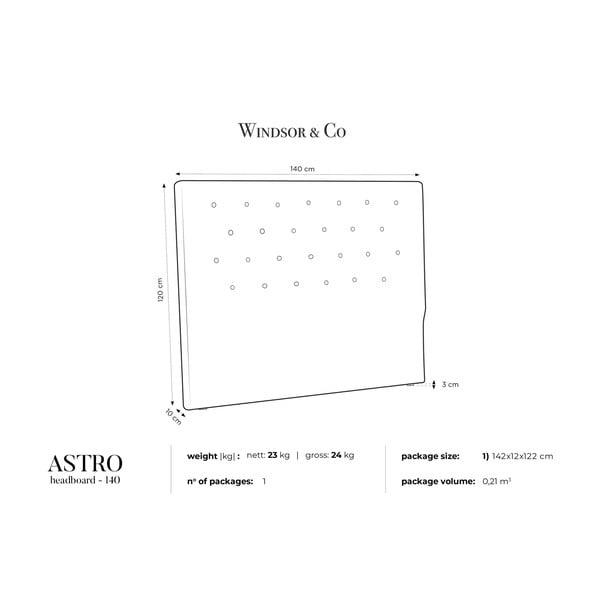 Fioletowy zagłówek łóżka Windsor & Co Sofas Astro, 140x120 cm