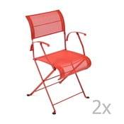 Zestaw 2 czerwonych krzeseł składanych z podłokietnikami Fermob Dune