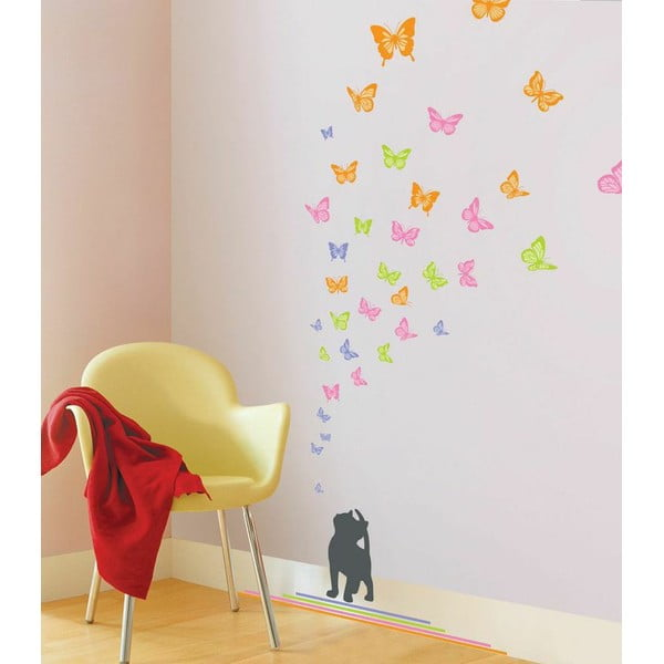 Zestaw naklejek Ambiance Cat and Butterflies