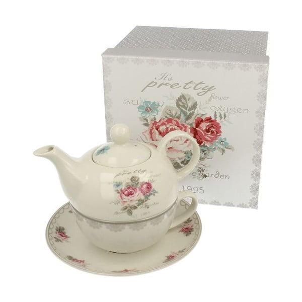 Porcelanowy dzbanek z kubkiem i podstawką Roses