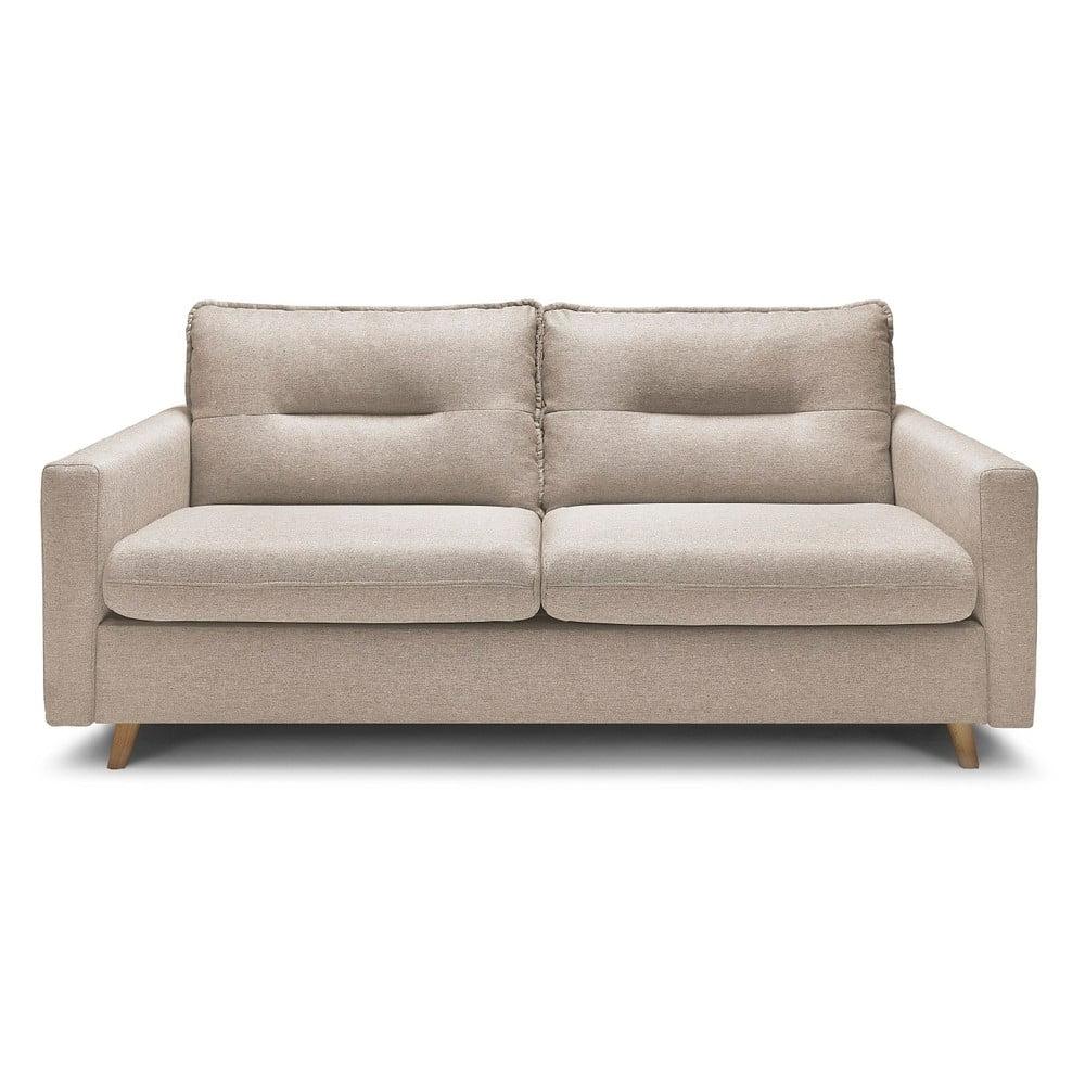 Beżowa 3-osobowa sofa rozkładana Bobochic Paris Sinki