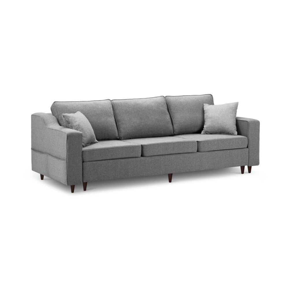 Ciemnoszara 3-osobowa sofa rozkładana z miejscem do przechowywania Mazzini Sofas Narcisse