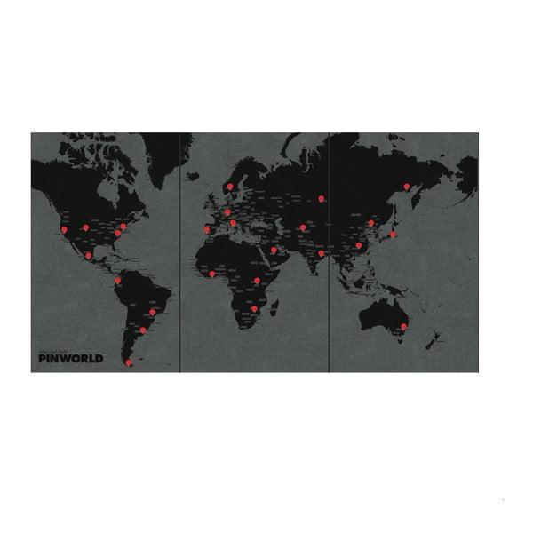 Czarna ścienna mapa świata Palomar Pin World XL, 198x124cm