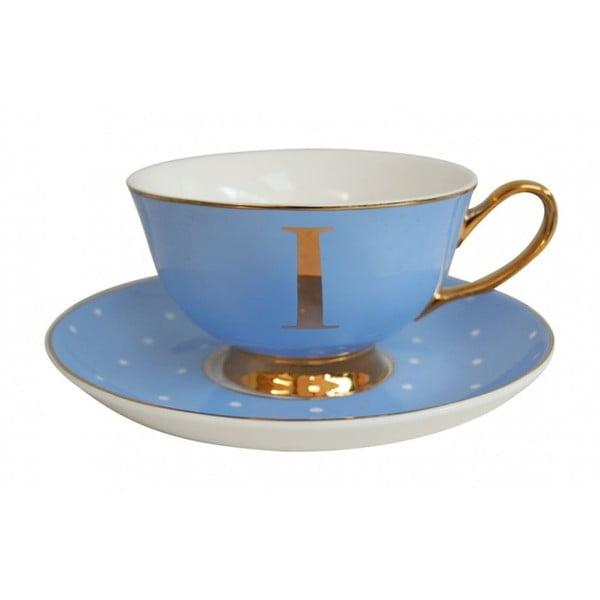 Niebieska   filiżanka ze spodkiem z literą I Bombay Duck