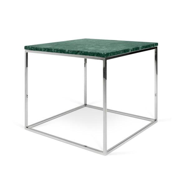Zielony stolik marmurowy z chromowanymi nogami TemaHome Gleam, 50 cm