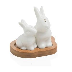 Solniczka i pieprzniczka na drewnianej podkładce Brandani Rabbit