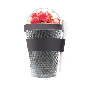 Czarny kubek termiczny na jogurt Asobu Chill Yo 2 Go, 380 ml