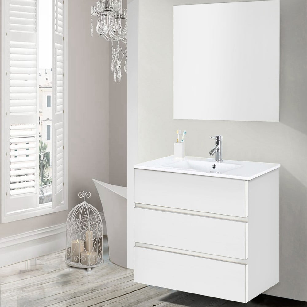 Szafka Do łazienki Z Umywalką I Lustrem Nayade Odcień Bieli 70 Cm Bonami