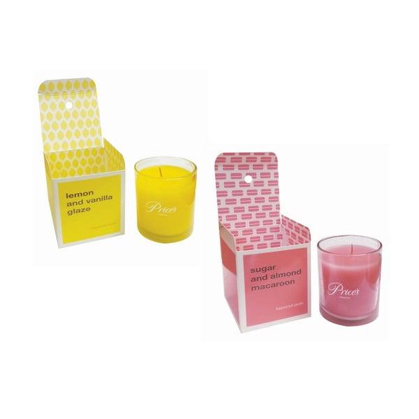 Zestaw 2 świeczek zapachowych Lemon and Vanilla Glaze/Sugar Almond Macaroon