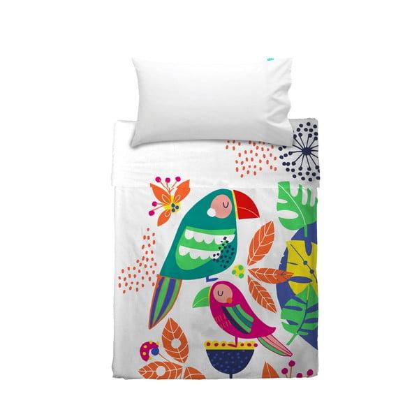 Narzuta i poszewka na poduszkę Moshi Moshi Pretty Parrots, 100x135 cm