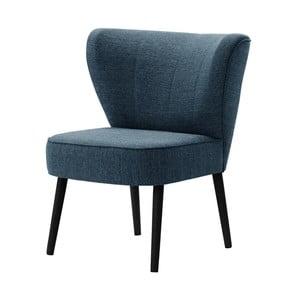 Granatowy fotel z czarnymi nogami My Pop Design Adami