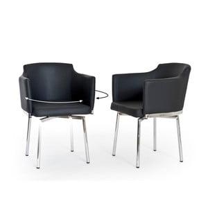 Zestaw 2 czarnych krzeseł obrotowych RGE Detroit