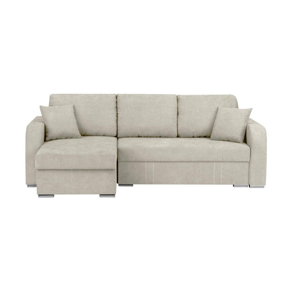 Beżowa 3-osobowa narożna rozkładana sofa ze schowkiem Melart Louise