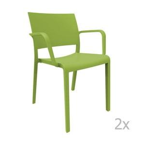 Zestaw 2 zielonych krzeseł ogrodowych z podłokietnikami Resol Fiona