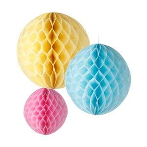 Papierowa dekoracja Honeycomb Pastel, 3 szt.