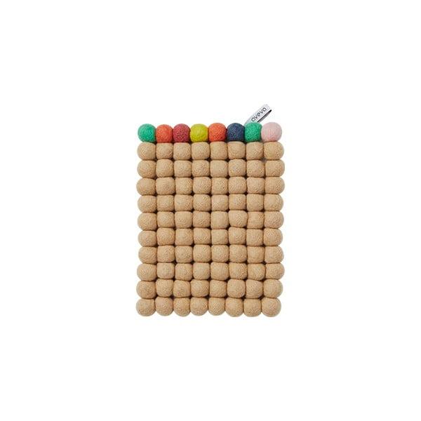 Wełniana podkładka Trivet Nougat/Multi, 22x17 cm