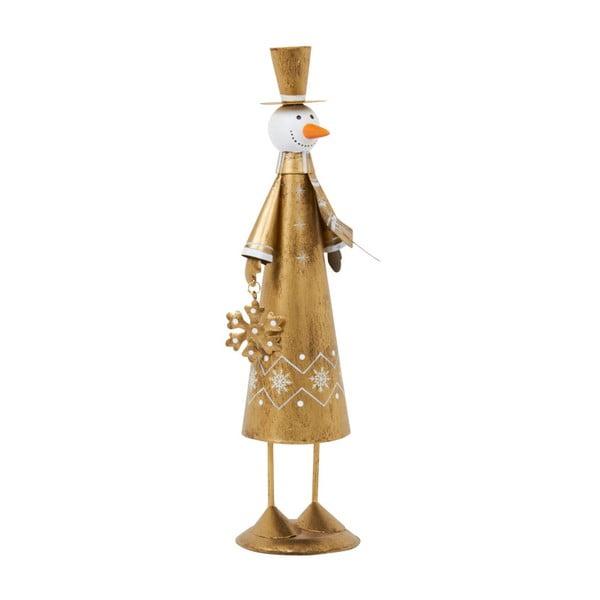 Dekoracja Archipelago Gold Snowman With Snowflake, 29 cm