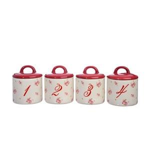 Zestaw 4 ceramicznych pojemników Rose